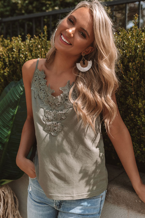 Cali Vibes Crochet Tank In Sage