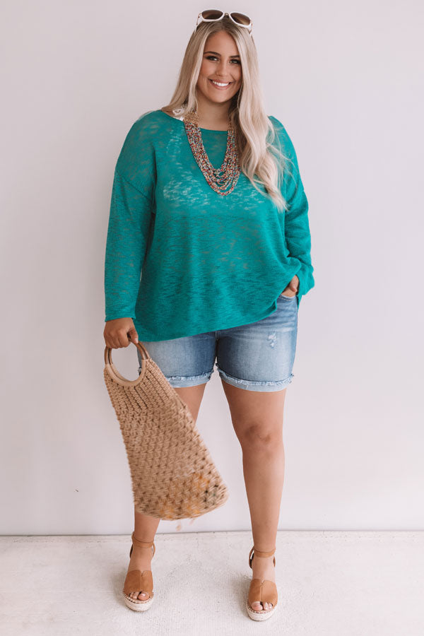 Summer Nights Knit Sweater In Jade