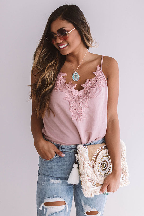 Cali Vibes Crochet Tank In Blush