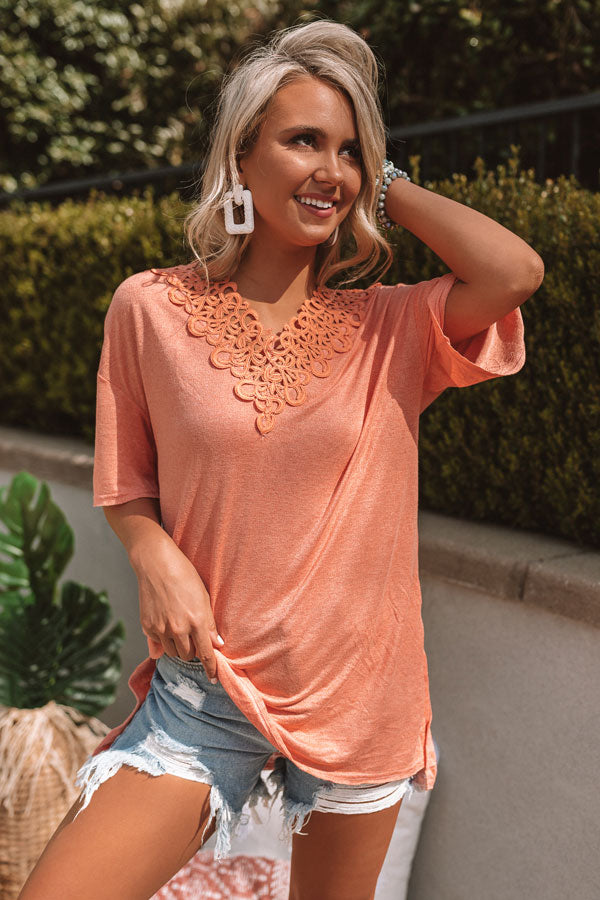 Roadtrip To Cali Crochet Top In Peach