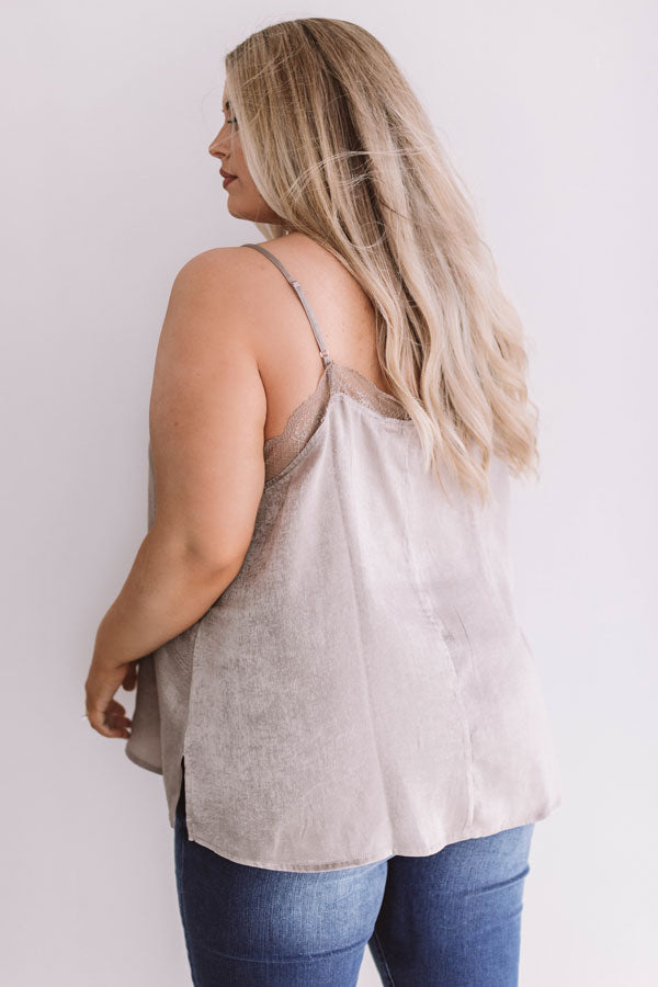 Graceful Lace Tank In Taupe