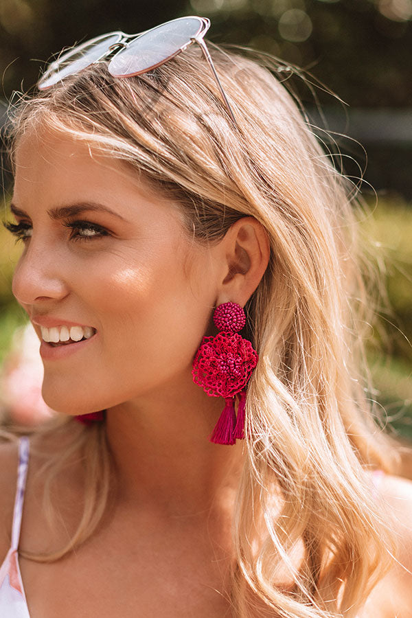 Luxe Luau Earrings In Sangria