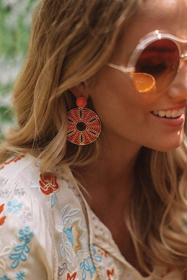 Lost In Paradise Earrings In Orange