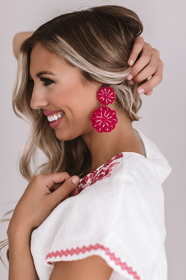 Seeking Santorini Earrings In Fuchsia
