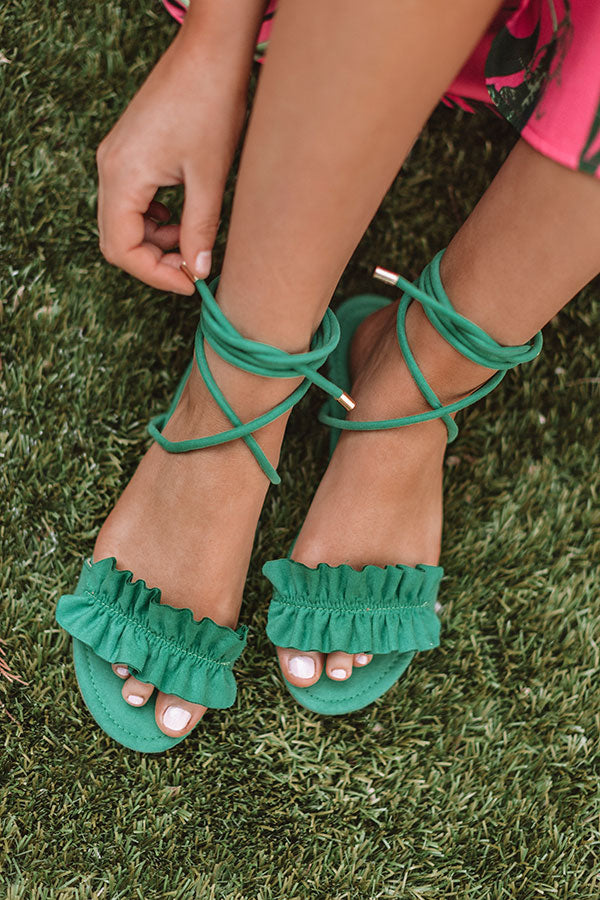 The Roxanne Wrap Up Sandal In Kelly Green