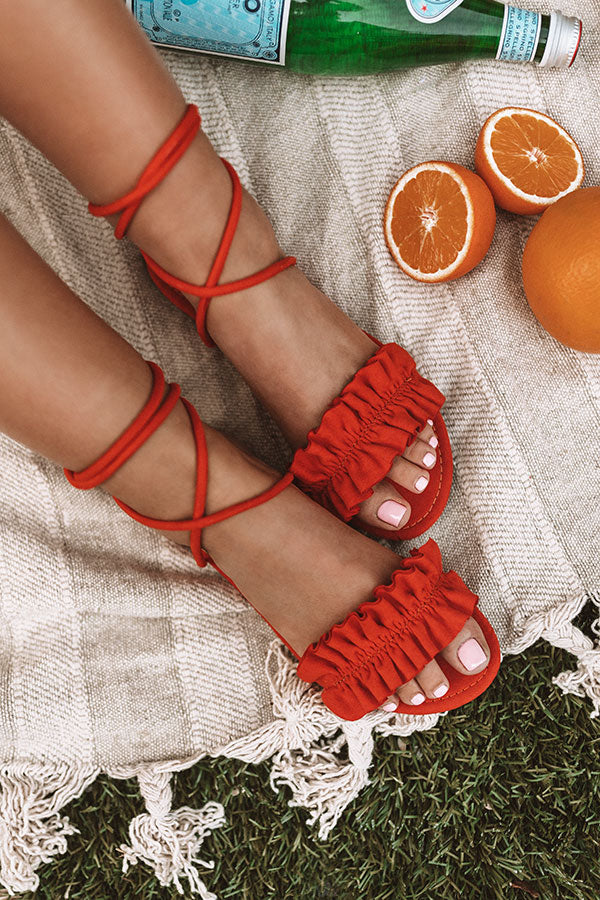The Roxanne Wrap Up Sandal In Tangerine