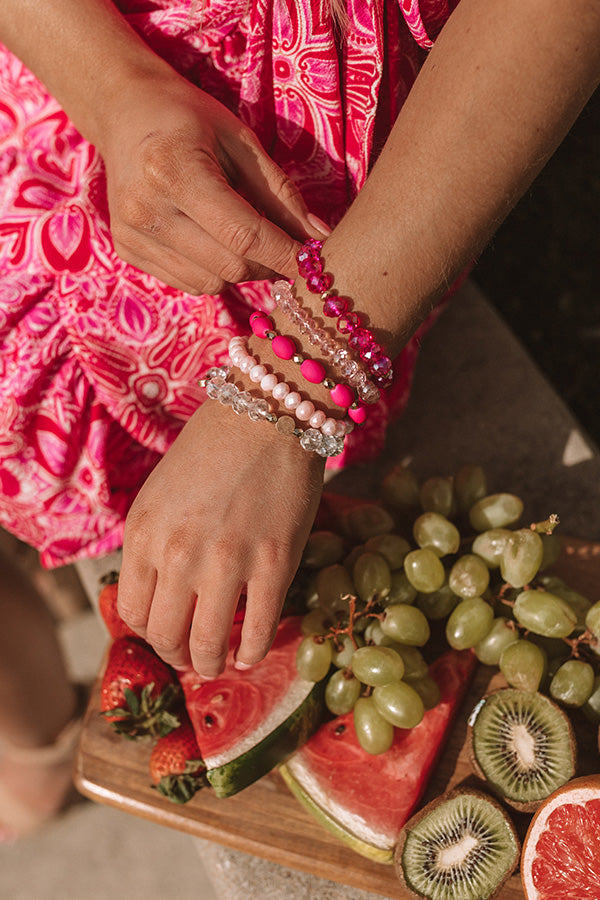 Bora Bora Baby Semi Precious Bracelet Set In Hot Pink