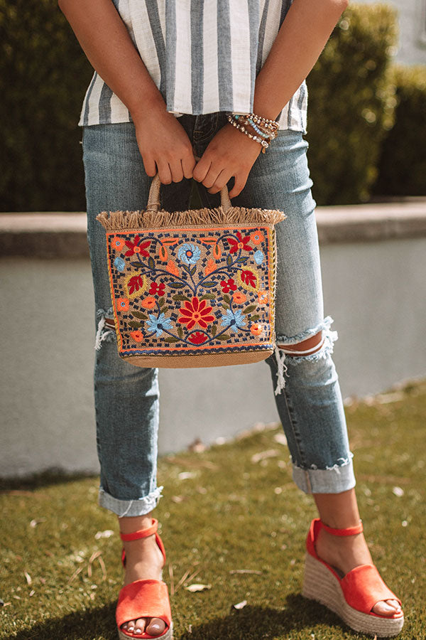 Coast To Coast Cute Embroidered Tote In Neon Orange