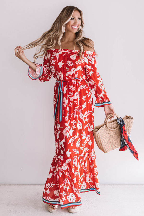 Carefree In Cabo Off Shoulder Maxi