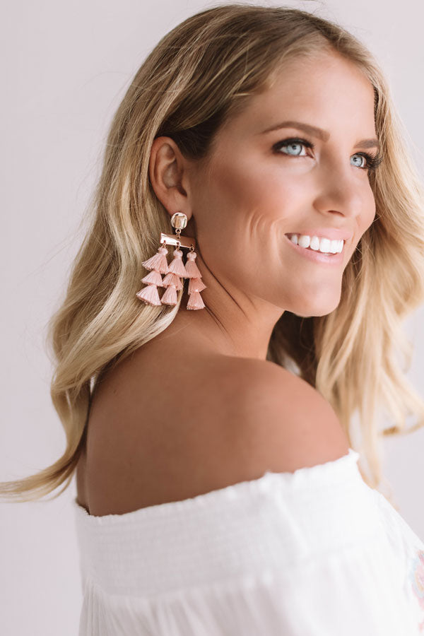 Wine And Dine Tassel Earrings In Blush