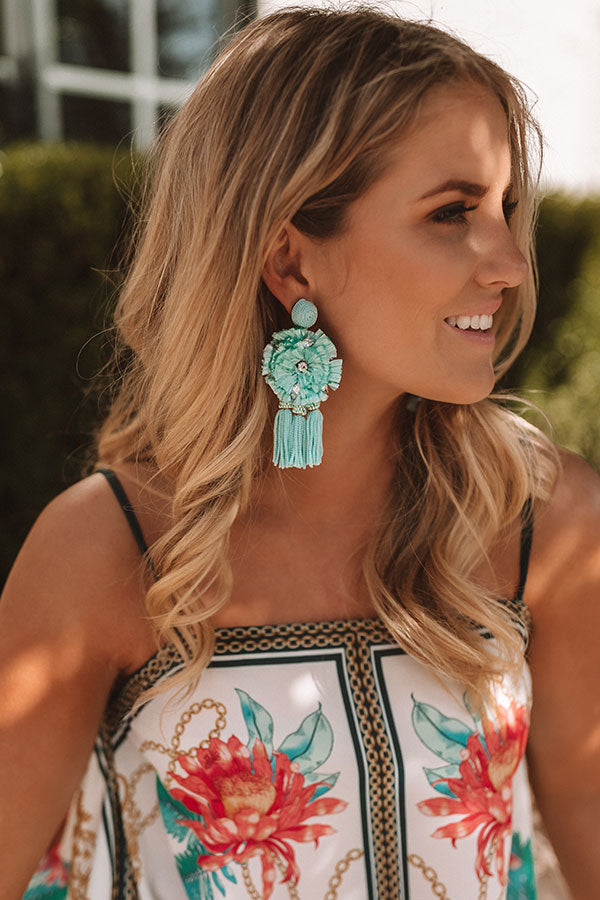 St. Lucia Love Earrings In Ocean Wave