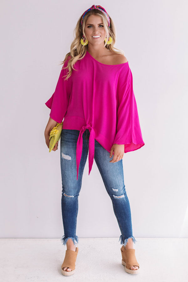 Word Travels Fast Shift Top In Hot Pink