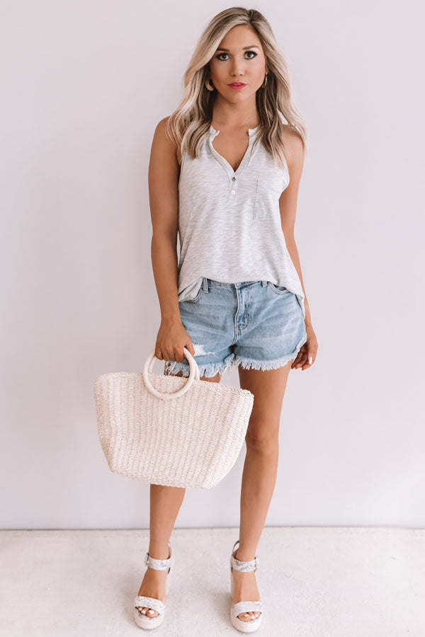 Summertime Fine Henley Tank In Grey