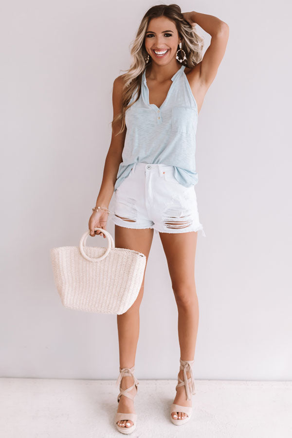 Summertime Fine Henley Tank In Sky Blue