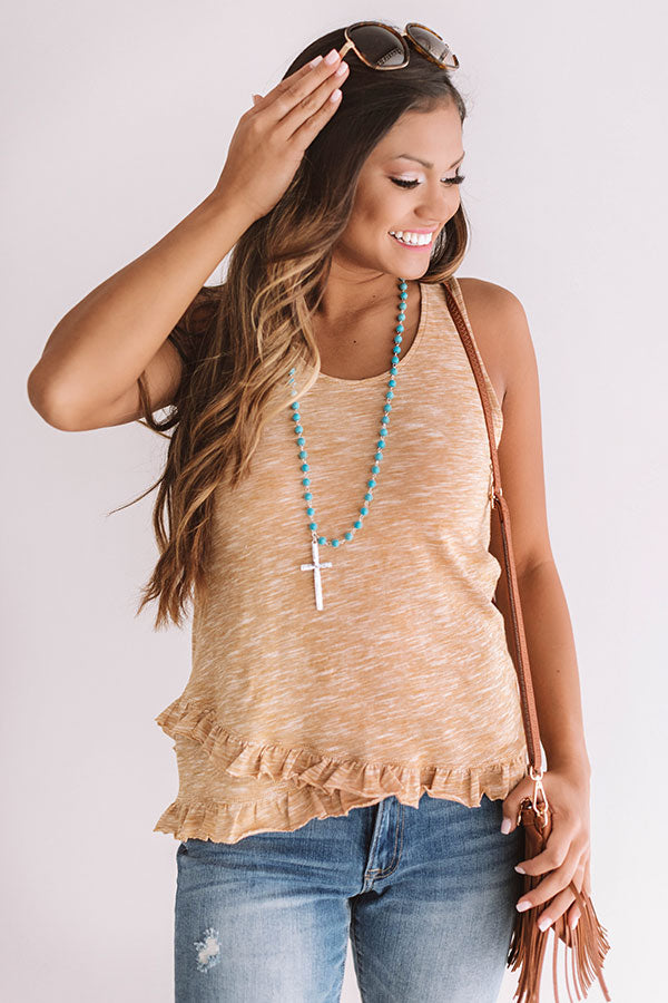 Sunset Skies Ruffle Tank In Mustard
