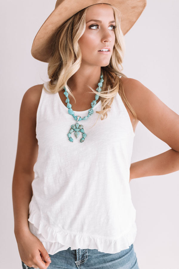 Sunset Skies Ruffle Tank In White
