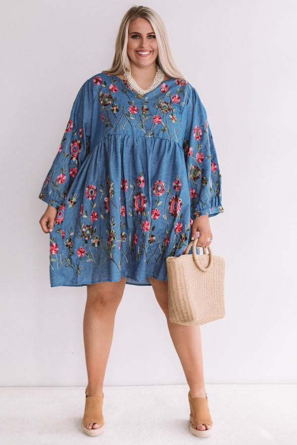 Summer And Sunsets Embroidered Dress In Blue
