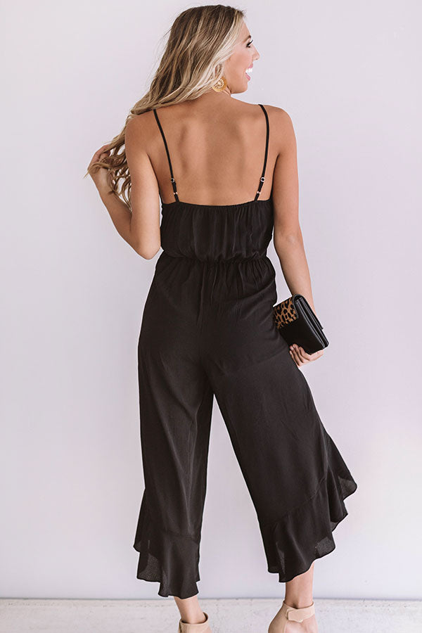Listen To Your Heart Ruffle Jumpsuit in Black