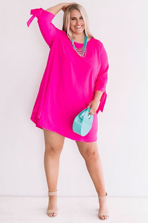 Central Park Perfection Shift Dress In Hot Pink