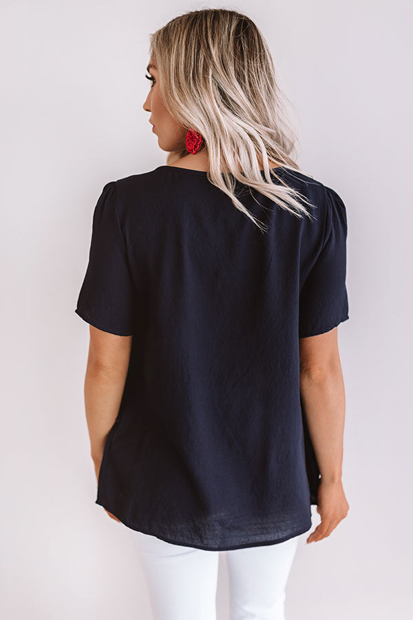 Trip to Tuscany Shift Top in Navy