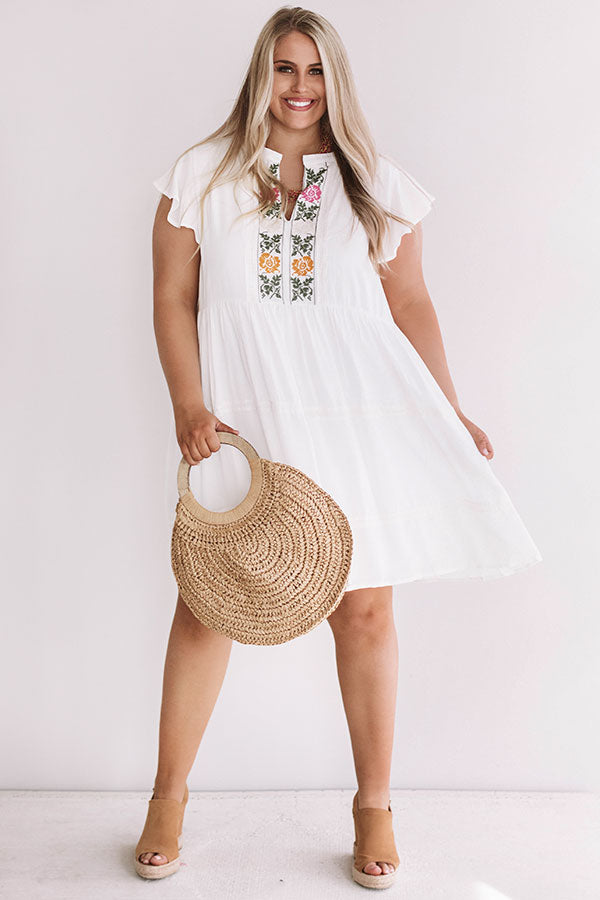 Grecian Gorgeous Embroidered Babydoll Dress In White