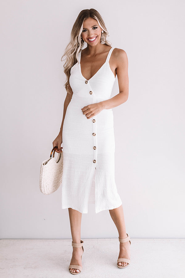 Long Beach Bombshell Midi Dress in Ivory
