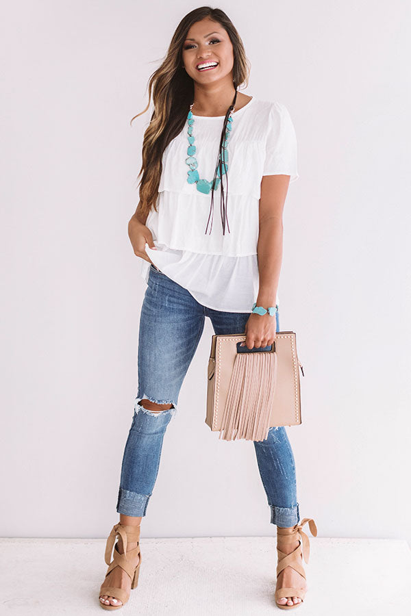 Trip to Tuscany Shift Top in White