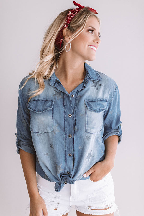Like A Shooting Star Chambray Top