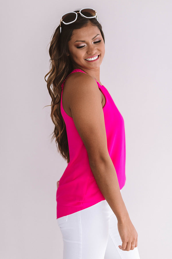 Chic On The Coast Shift Tank In Hot Pink