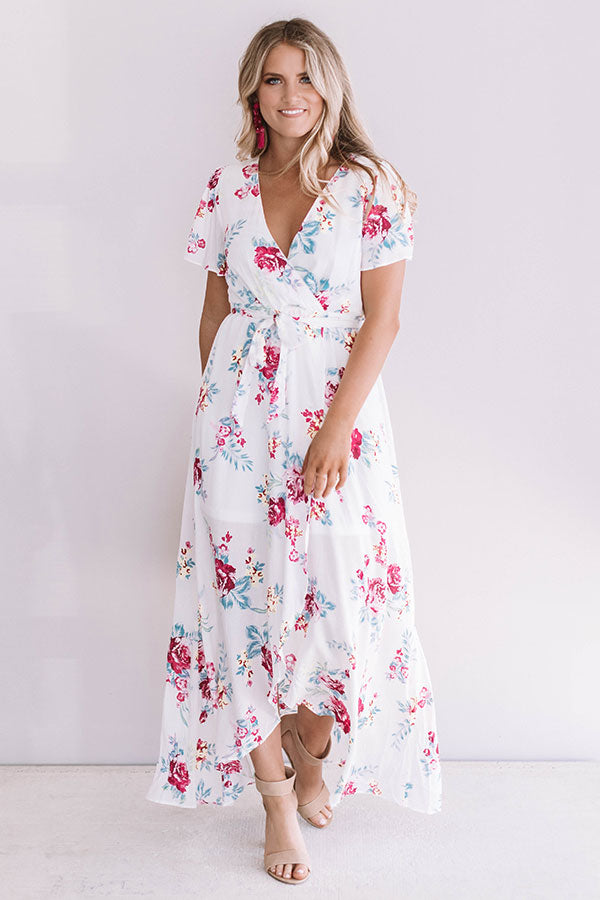 Getaway to Greece Faux Wrap Maxi Dress