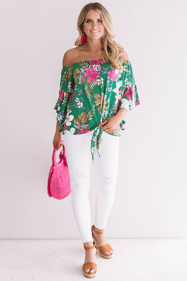 Miami Beach Babe Off Shoulder Top in Green