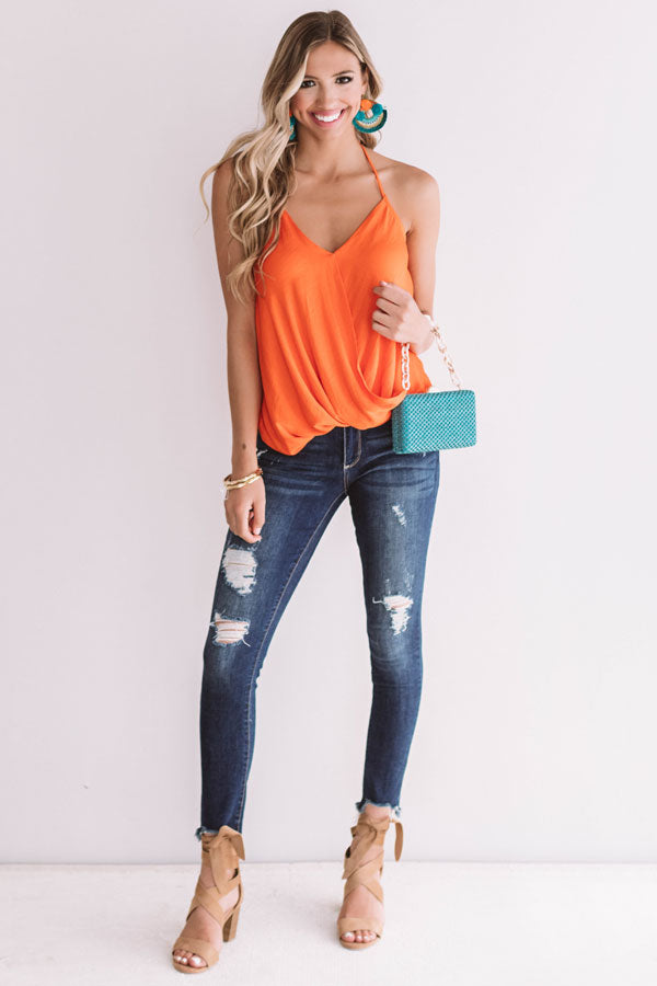 Heartbreaker Halter Top in Tangerine