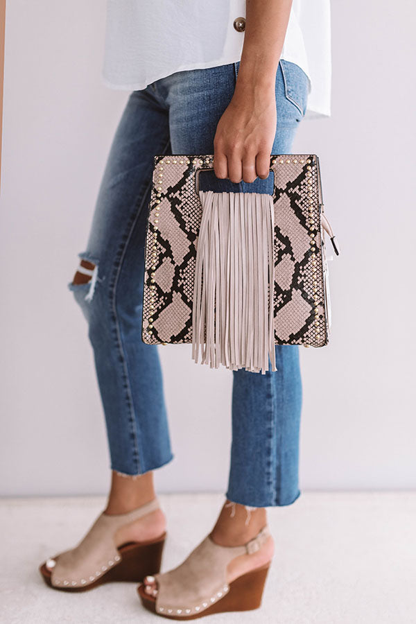 West Coast Road Trip Snake Print Crossbody in Light Hazelnut