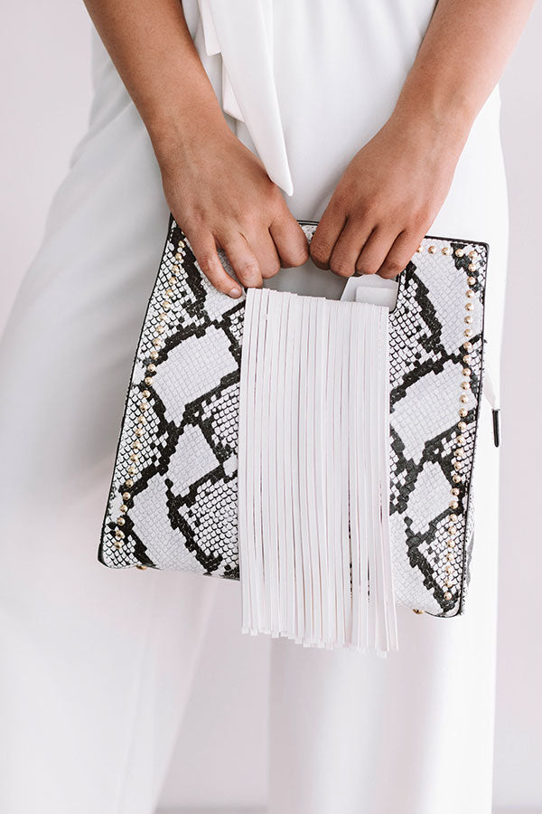West Coast Road Trip Snake Print Crossbody in White