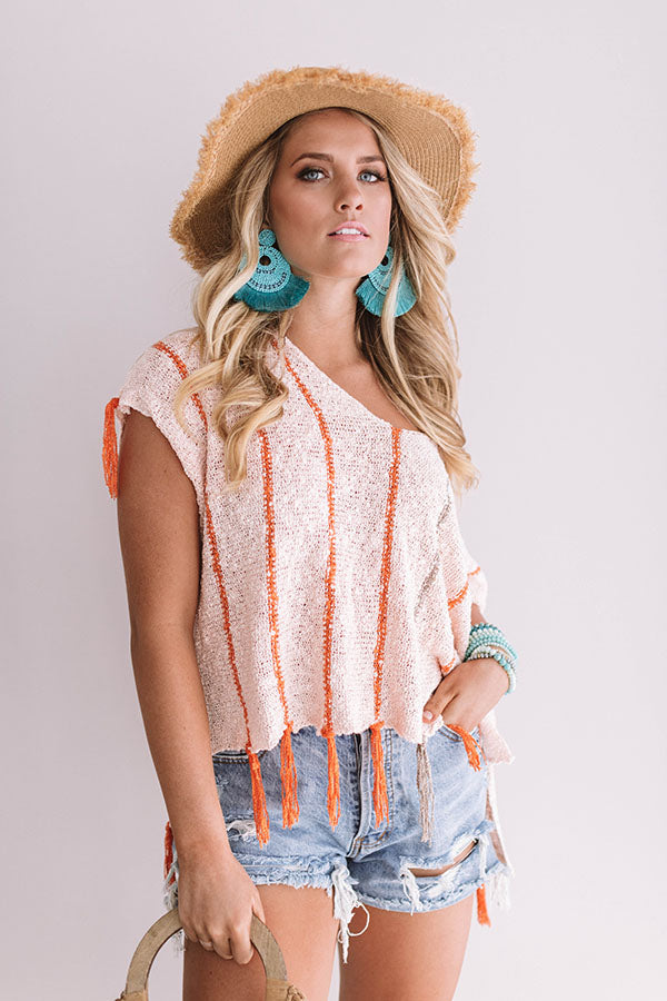 Seaside Strollin' Knit Top In Peach