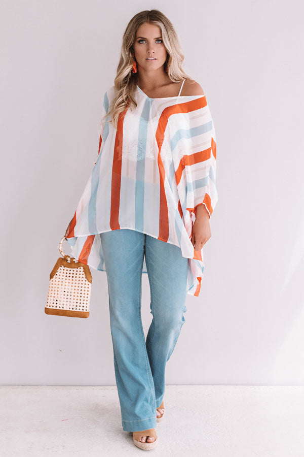 Call The Haute-Line Stripe Tunic In Tangerine