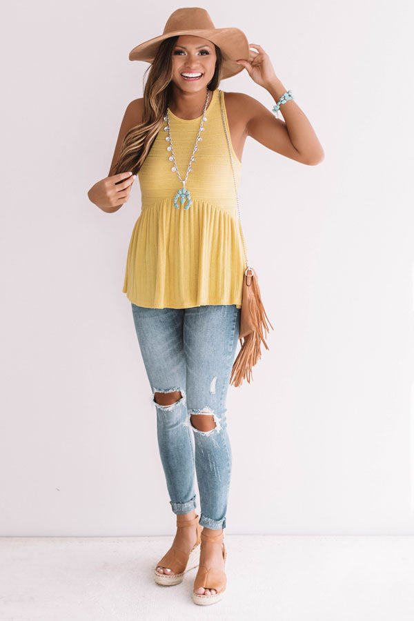Chic On The Coast Babydoll Tank In Primrose Yellow