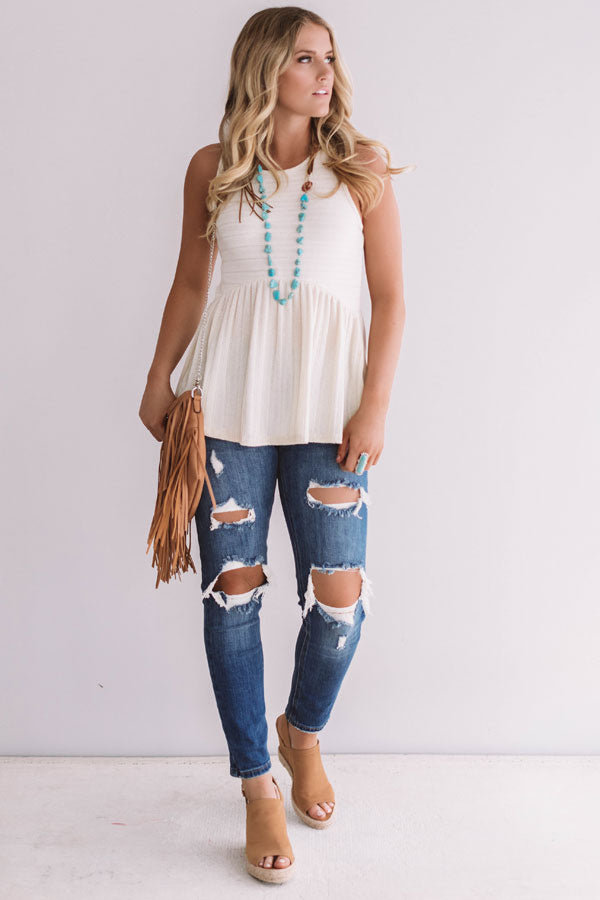 Chic On The Coast Babydoll Tank In Ivory