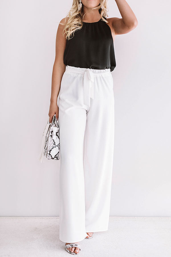 Vip Only High Waist Trousers In White