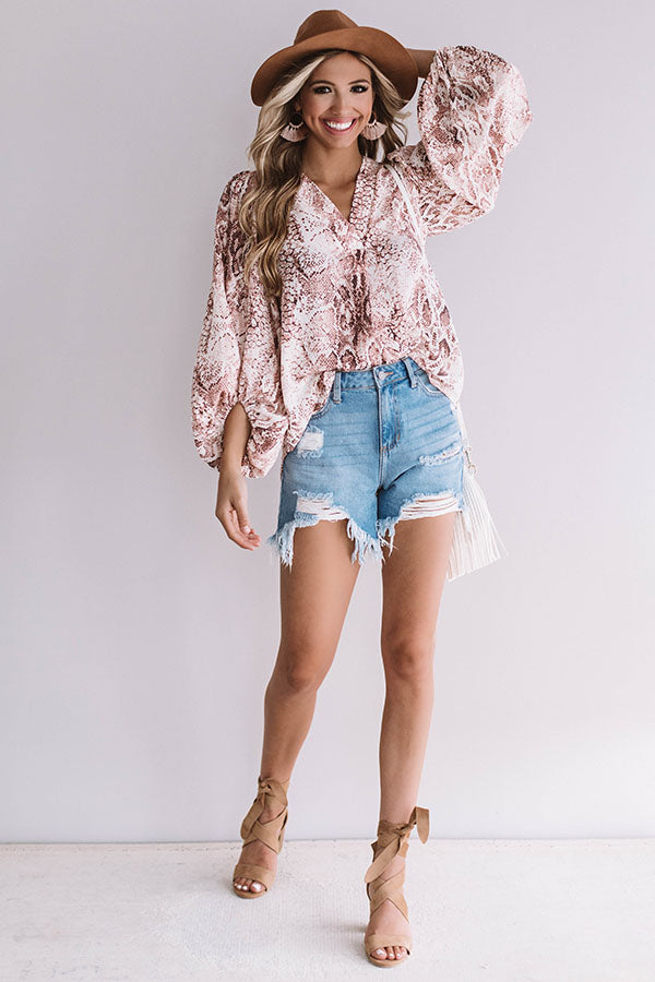 Livin' On The Edge Snake Print Top In Blush