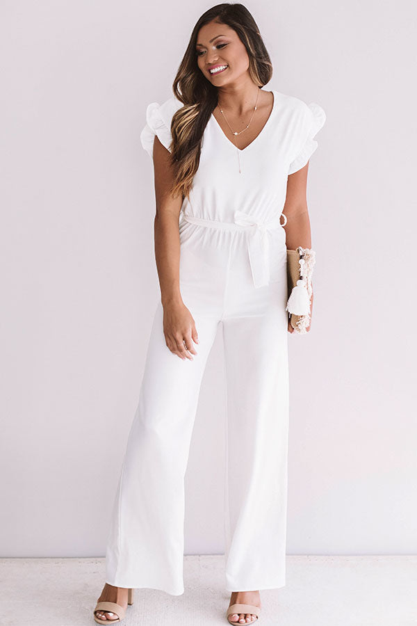 Late Nights Out Jumpsuit In White