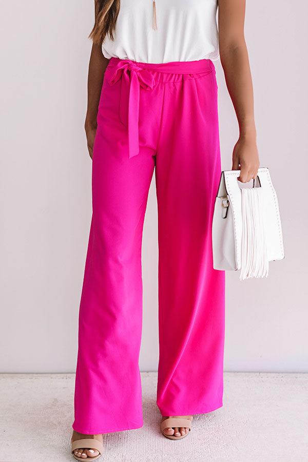Vip Only High Waist Trousers In Hot Pink