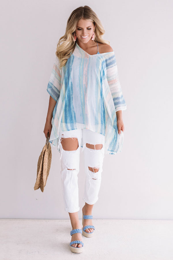 Call The Haute-Line Stripe Tunic In Limpet Shell