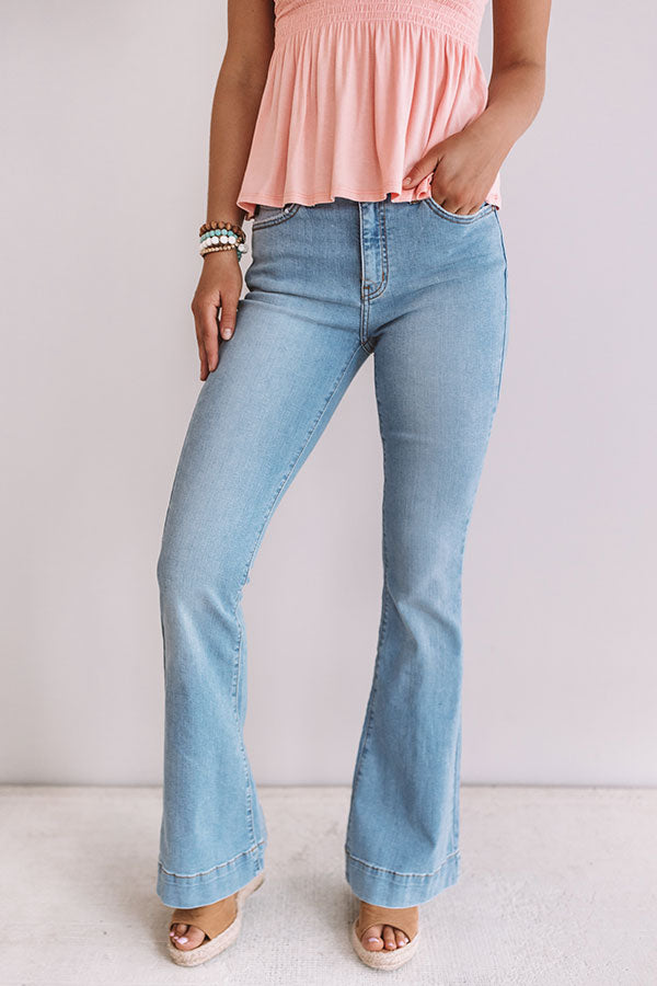 The Rosette High Waist Flares in Light Wash