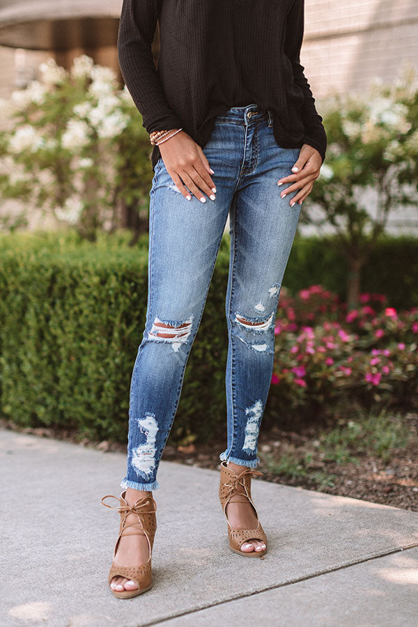 The Aila Midrise Distressed Skinny