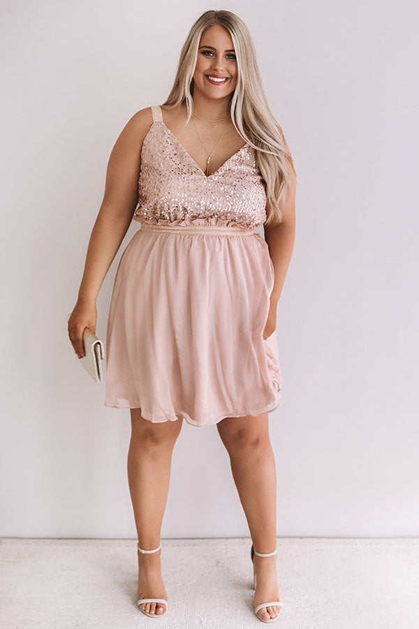 Love and Limos Sequin Dress in Blush