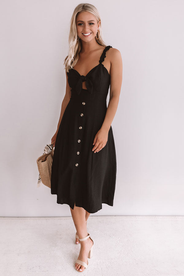 European Getaway Front Tie Midi in Black