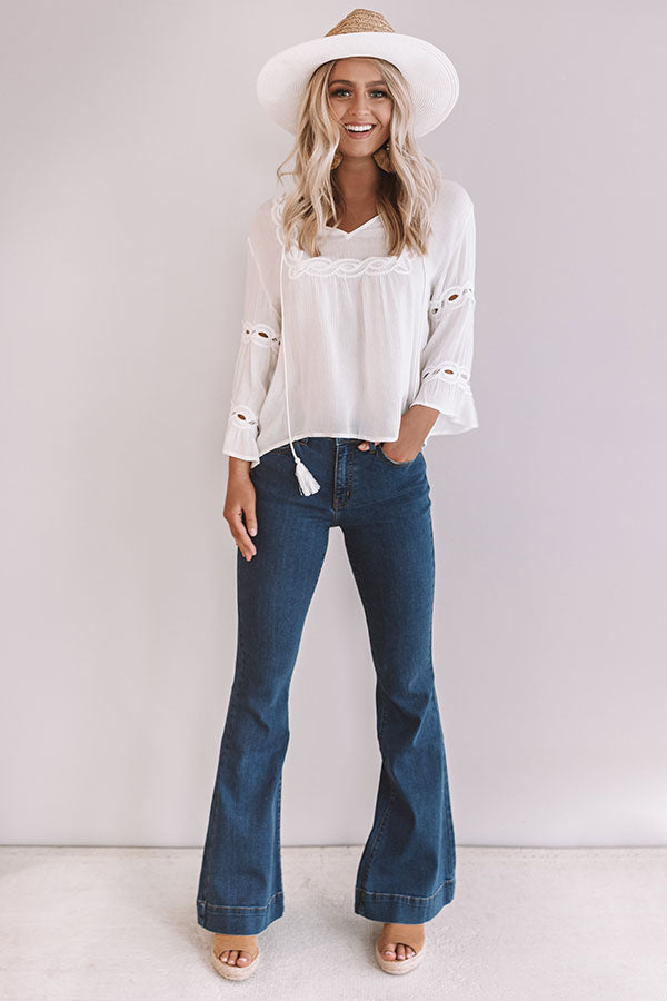 The Rosette High Waist Flares in Medium Wash