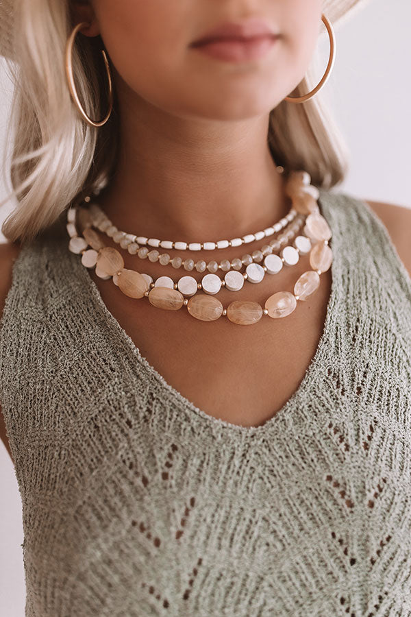 Santorini Sunsets Layered Necklace Cream
