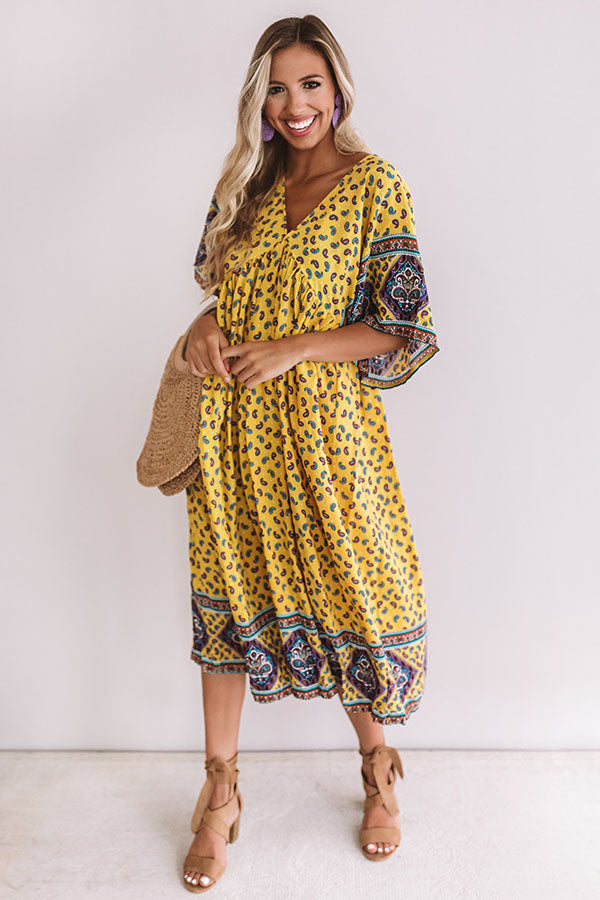 Silver Lining Paisley Midi Dress in Yellow